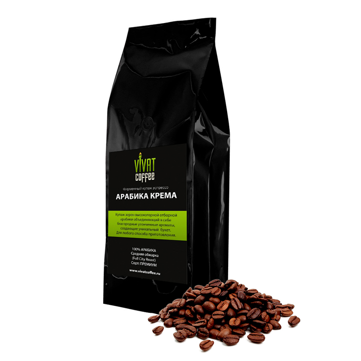 """Кофе в зернах """"Арабика Крема"""" 100 % Арабика Темная обжарка (0,5 кг)"""